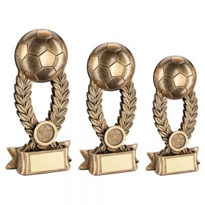 BRZ/GOLD FOOTBALL ON WREATH RISER WITH RIBBON BASE TROPHY
