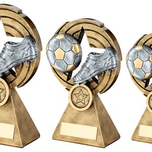 BRZ/PEW/GOLD FOOTBALL AND BOOT ON STAR HOLED SPIRAL TROPHY