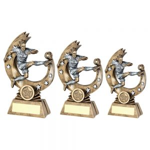 BRZ/PEW FEMALE 'FLYING VOLLEY' FIGURE WITH SILVER STARS TROPHY