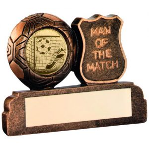BRZ/GOLD RESIN FOOTBALL 'MAN OF THE MATCH' TROPHY – (1in CENTRE) 2.5in