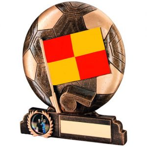 BRZ/GOLD/RED/YELLOW RESIN LINESMAN TROPHY – (1in CENTRE) 6.5in