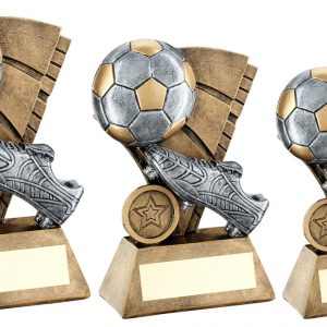 BRZ/PEW/GOLD FOOTBALL AND BOOT ON SAIL BACKDROP TROPHY