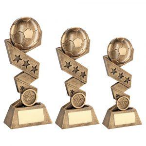 BRZ/GOLD FOOTBALL ON ZIG ZAG STAR RIBBON TROPHY