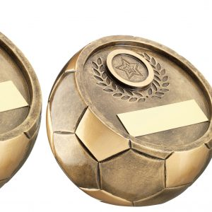 BRZ/GOLD FULL 3D ANGLED FOOTBALL TROPHY