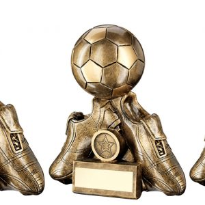 BRZ/GOLD TWO FOOTBALL BOOTS WITH BALL TROPHY