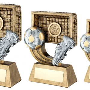 BRZ/GOLD/PEW FOOTBALL ON SWOOSH WITH BOOT/NET TROPHY