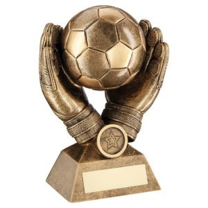 BRZ/GOLD FOOTBALL IN GOALKEEPER GLOVES TROPHY (1in CENTRE) – 7.25in