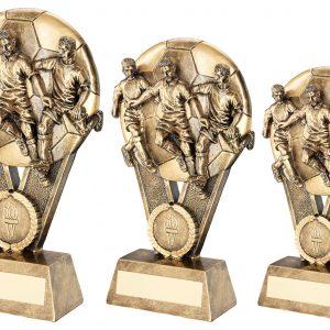 BRZ/GOLD MALE MULTI FOOTBALLER ON BALL TROPHY