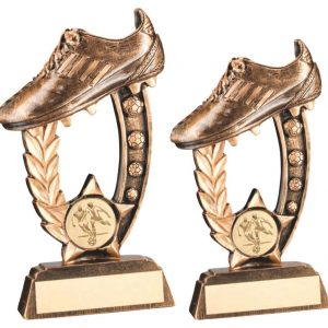 BRZ/GOLD RESIN RAISED FOOTBALL BOOT TROPHY