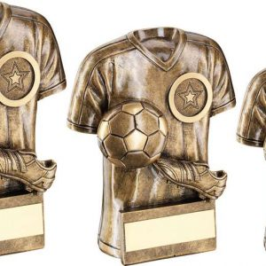 BRZ/GOLD FOOTBALL TROPHY SHIRT WITH BOOT/BALL TROPHY