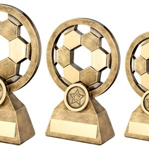 BRZ/GOLD FOOTBALL WITH HOLES TROPHY
