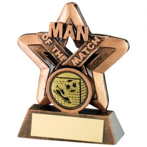 BRZ/GOLD MAN OF THE MATCH MINI STAR WITH FOOTBALL INSERT TROPHY – 3.75in