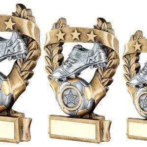 BRZ/PEW/GOLD FOOTBALL 3 STAR WREATH AWARD TROPHY
