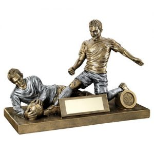 BRZ/PEW MALE FOOTBALL FIGURE AND GOALKEEPER TROPHY (1in CENTRE) – 7.5 x 10.5in