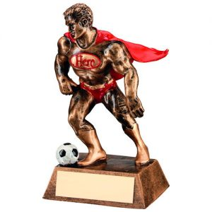 BRZ/GOLD/RED RESIN FOOTBALL 'HERO' TROPHY – 6.25in