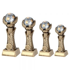 BRZ/PEW/GOLD FOOTBALL WITH WREATH ON NET COLUMN TROPHY