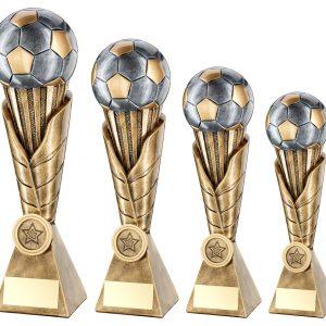 BRZ/PEW/GOLD FOOTBALL ON LEAF BURST COLUMN TROPHY