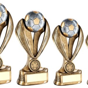 BRZ/PEW/GOLD FOOTBALL AND BOOT ON MEDAL/RIBBON RISER TROPHY