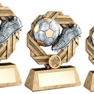BRZ/PEW/GOLD FOOTBALL OCTO RIBBON SERIES TROPHY