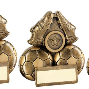 BRZ/GOLD TWO FOOTBALLS AND BOOTS FLATBACK TROPHY