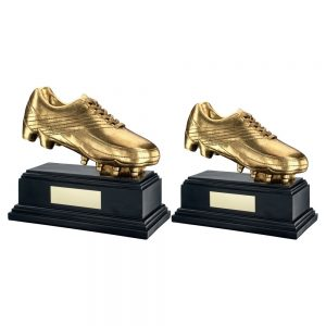 ANTIQUE GOLD PREMIUM FOOTBALL BOOT ON BLACK BASE TROPHY