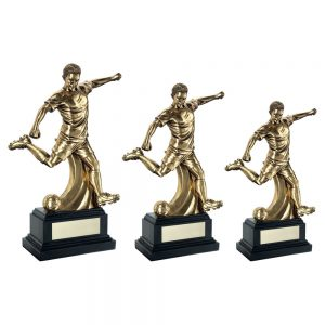 ANTIQUE GOLD PREMIUM MALE FOOTBALL FIGURE ON BLACK BASE TROPHY