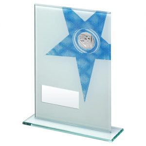 WHITE/BLUE PRINTED GLASS RECTANGLE WITH FOOTBALL INSERT TROPHY