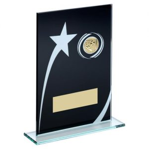 BLK/WHITE PRINTED GLASS PLAQUE WITH FOOTBALL INSERT TROPHY – 6.5in