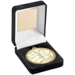 BLACK VELVET BOX AND 50mm MEDAL REFEREE TROPHY – GOLD – 3.5in
