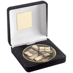 BLACK VELVET BOX AND 70mm MEDALLION REFEREE TROPHY – ANTIQUE GOLD – 4in