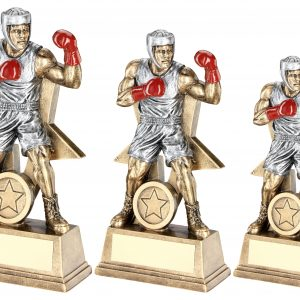 BRZ/PEW/RED MALE BOXING FIGURE WITH STAR BACKING TROPHY