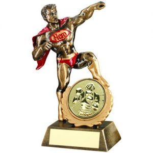 BRZ/GOLD/RED RESIN GENERIC 'HERO' AWARD WITH BOXING INSERT – 7.25in