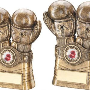 BRZ/GOLD BOXING GLOVES AND BELT TROPHY