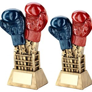 BRZ/GOLD/RED/BLUE BOXING GLOVES STAR BURST WITH RING BASE TROPHY