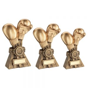 GOLD/BRZ BOXING GLOVES WITH BELT TROPHY