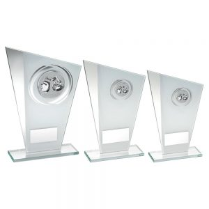 WHITE/SILVER PRINTED GLASS PLAQUE WITH BOXING INSERT TROPHY