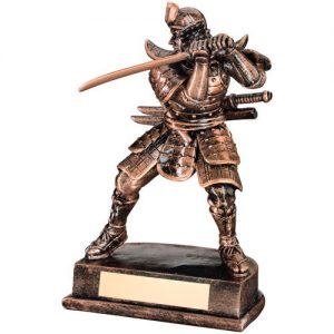 BRZ/GOLD RESIN SAMURAI FIGURE TROPHY – 8in