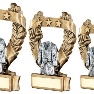 BRZ/PEW/GOLD MARTIAL ARTS 3 STAR WREATH AWARD TROPHY