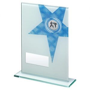 WHITE/BLUE PRINTED GLASS RECTANGLE WITH MARTIAL ARTS INSERT TROPHY