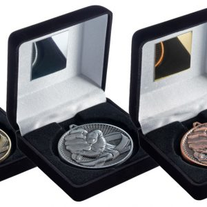 BLACK VELVET BOX AND 60mm MEDAL MARTIAL ARTS TROPHY