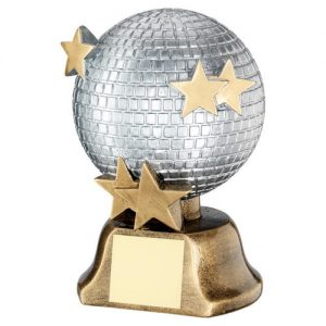 SILVER/BRZ/GOLD GLITTER BALL WITH STARS TROPHY – 6in