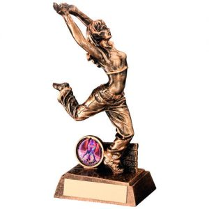 BRZ/GOLD RESIN STREET DANCE FIGURE TROPHY – FEMALE (1in CENTRE) 7.5in
