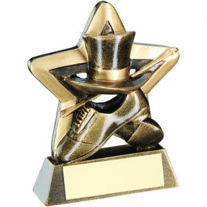 BRZ/GOLD TOP HAT/GLOVES/CANE MINI STAR TROPHY – 3.75in