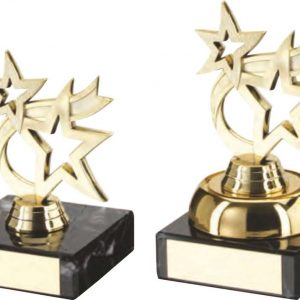 GOLD PLASTIC AND MARBLE 'DANCING STAR' TROPHY