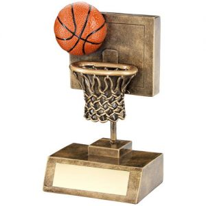 BRZ/GOLD/ORANGE BASKETBALL AND NET WITH BACKBOARD TROPHY – 6in