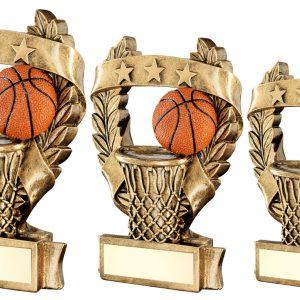 BRZ/GOLD/ORANGE BASKETBALL 3 STAR WREATH AWARD TROPHY
