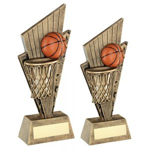 BRZ/GOLD/ORANGE BASKETBALL AND NET ON POINTED BACKDROP TROPHY