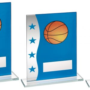 BLUE/SILVER PRINTED GLASS PLAQUE WITH BASKETBALL IMAGE TROPHY