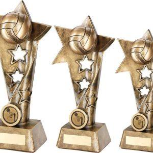 BRZ/GOLD NETBALL TWISTED STAR COLUMN TROPHY