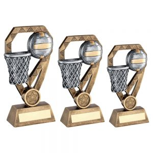 BRZ/PEW/GOLD NETBALL WITH NET ON DIAMOND TROPHY